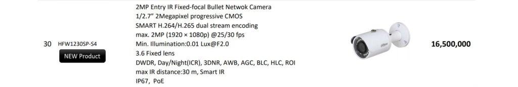 قیمت خرید دوربین دو مگاپیکسلی IP بالت