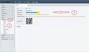 صفحه وب دستگاه رکوردر برای کد P2P